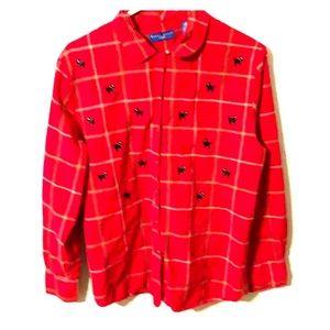 Karen Scott Sport  Long Sleeve Red Black Dog L
